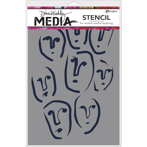Dina Wakley CIRCLE FACES Media Stencil MDS63162 Preview Image