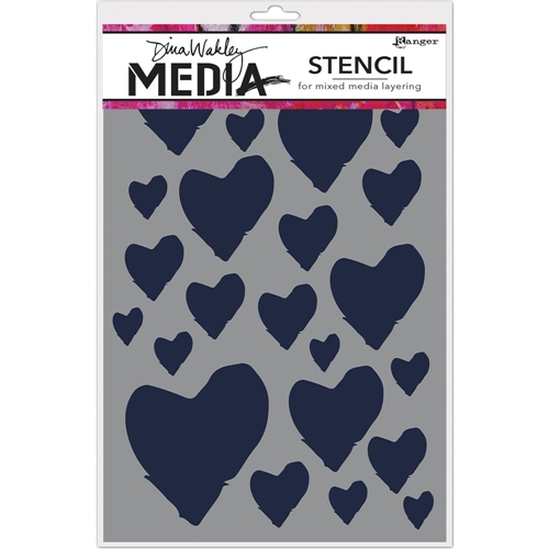 Dina Wakley THE BEST HEARTS Media Stencil MDS63193 Preview Image