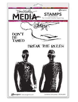 Dina Wakley SCRIBBLED SILHOUETTES Media Cling Rubber Stamp MDR63889*