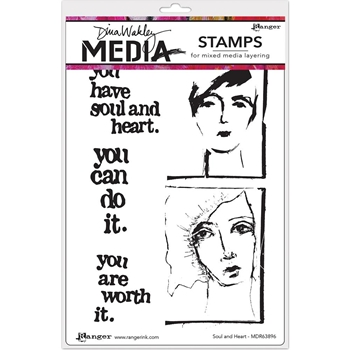 Dina Wakley SOUL AND HEART Media Stencil MDS63896