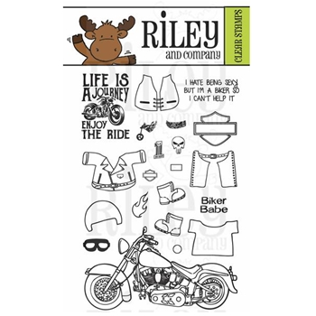 Riley and Company Clear Stamp Dress Up Riley MOTORCYCLE RCLR29*