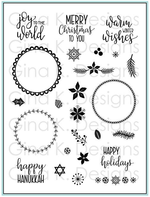 Gina K Designs HOLIDAY WREATH BUILDER Clear Stamps 3580 zoom image