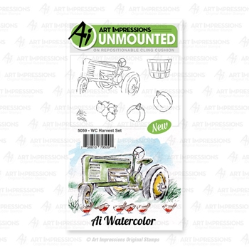 Art Impressions Watercolor HARVEST Cling Cushion Stamps 5059