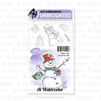 Art Impressions Watercolor SNOWMAN Cushion Cling Stamps 5060