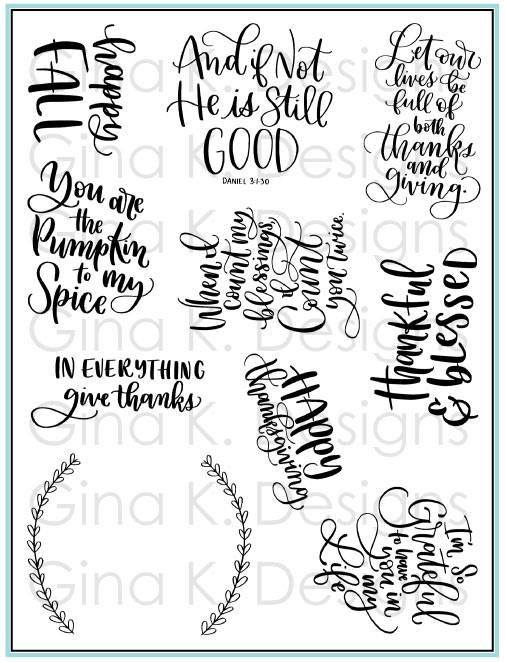 Gina K Designs THANKFUL AND BLESSED Clear Stamps 3405 zoom image