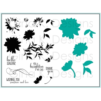 Gina K Designs LAYERED DAISY Clear Stamps and Dies Bundle 3375