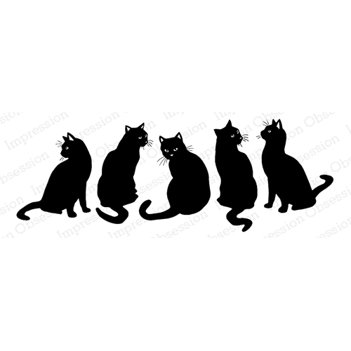 Impression Obsession Cling Stamp BLACK CATS E7983 Preview Image