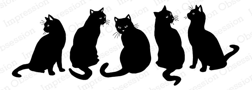 Impression Obsession Cling Stamp BLACK CATS E7983 zoom image