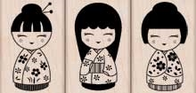 Hero Arts Rubber Stamps THREE JAPANESE DOLLS lp126* Preview Image