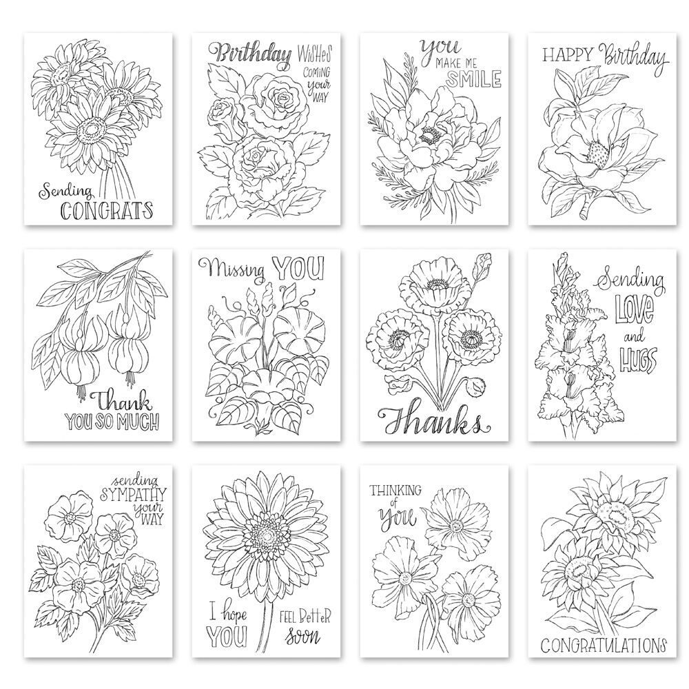 Simon Says Stamp Suzy's FLOWER SENTIMENTS Watercolor Prints szwcfs18 zoom image