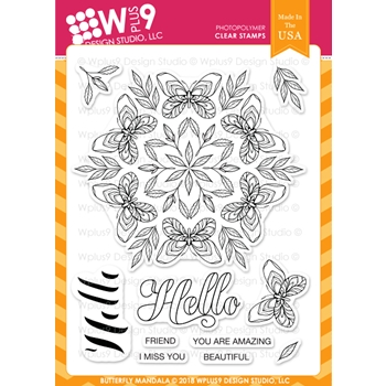 Wplus9 BUTTERFLY MANDALA Clear Stamps cl-wp9bm