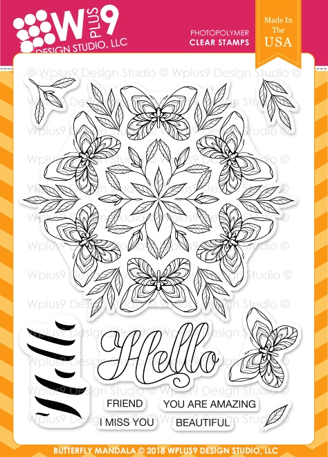 Wplus9 BUTTERFLY MANDALA Clear Stamps cl-wp9bm zoom image