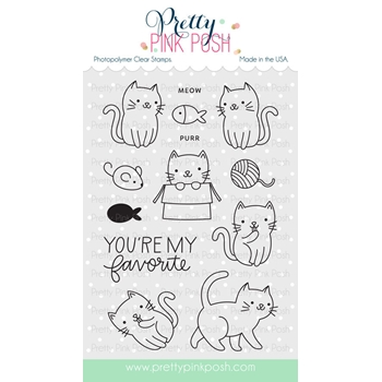 Pretty Pink Posh CUDDLY CATS Clear Stamps
