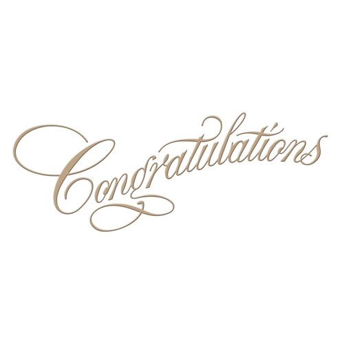 GLP-015 Spellbinders COPPERPLATE SCRIPT CONGRATULATIONS Glimmer Hot Foil Plate* Preview Image