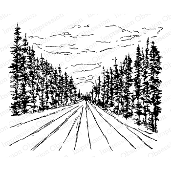 Impression Obsession Cling Stamp COUNTRY ROAD K7987