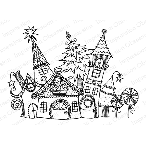 Impression Obsession Cling Stamp CHRISTMAS CASTLE H19875 Preview Image