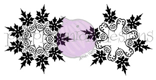 Purple Onion Designs VINTAGE SNOWFLAKES Cling Stamp pod4000