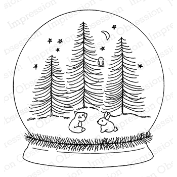 Impression Obsession Cling Stamp FOREST FRIENDS SNOW GLOBE F20577