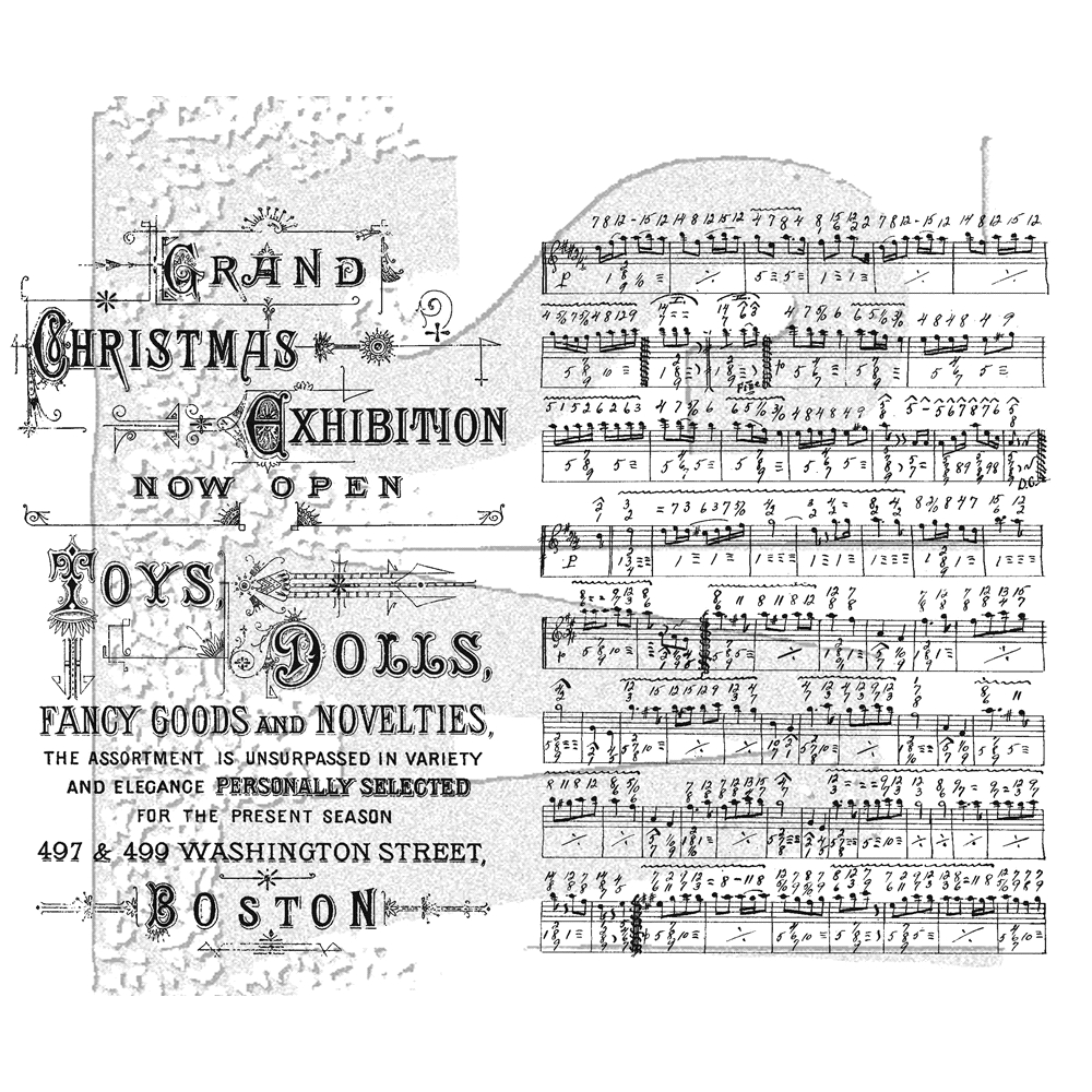 Tim Holtz Music and Advert Background Cling Stamp Set