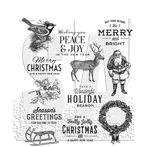 Tim Holtz/Stampers Anonymous Festive Overlay Cling Rubber Stamps