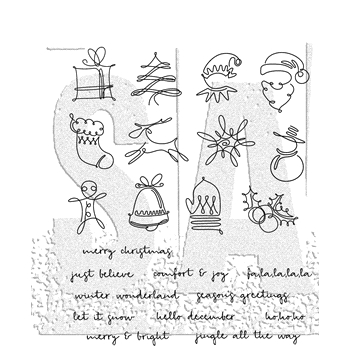 Tim Holtz Cling Rubber Stamps DECEMBER DOODLES CMS355