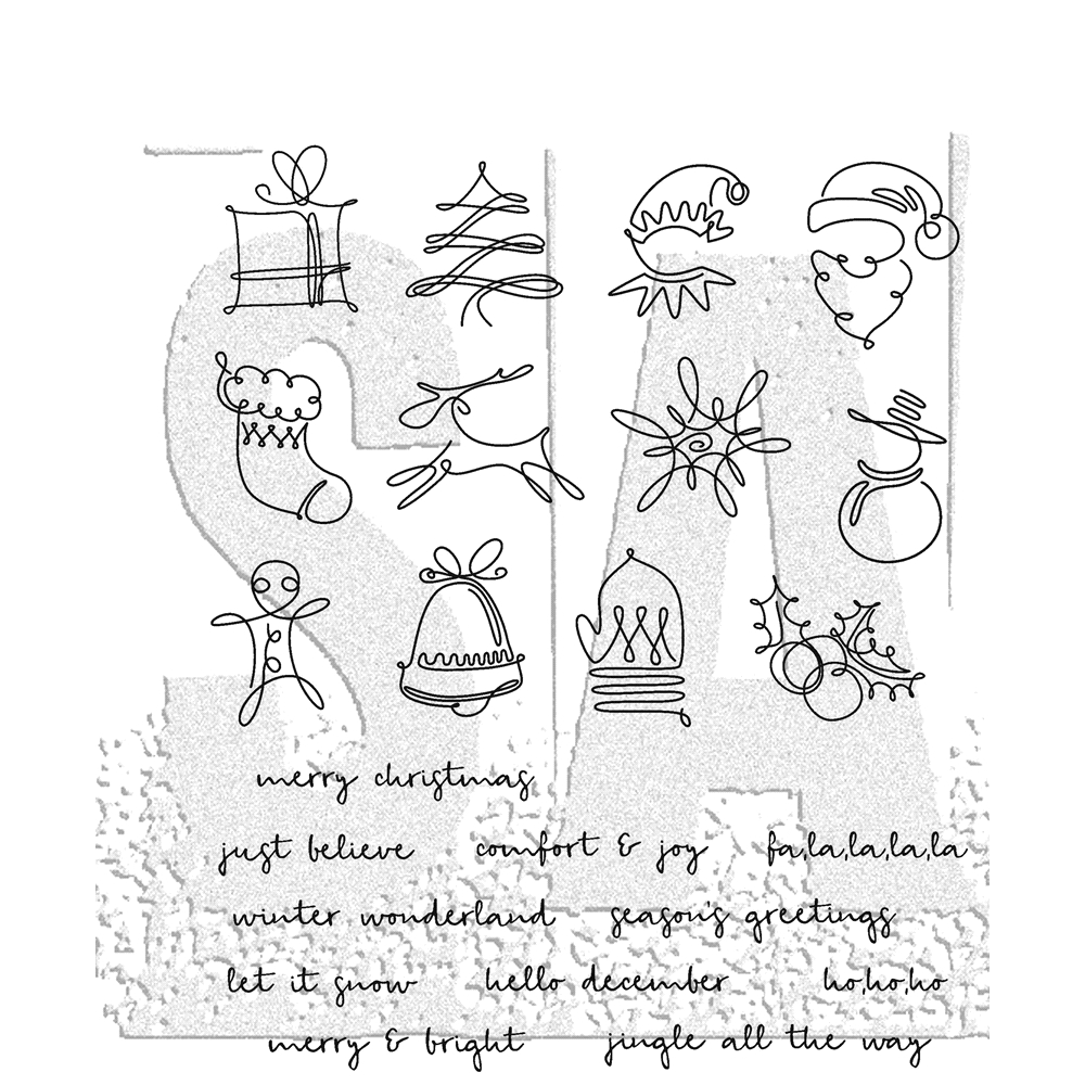 Tim Holtz Cling Rubber Stamps DECEMBER DOODLES CMS355 zoom image