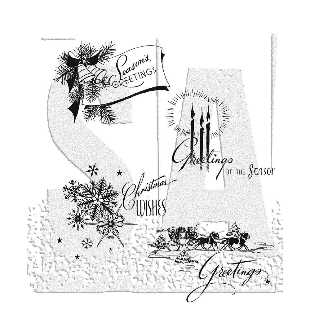 Tim Holtz Cling Rubber Stamps HOLIDAY GREETINGS CMS353 zoom image