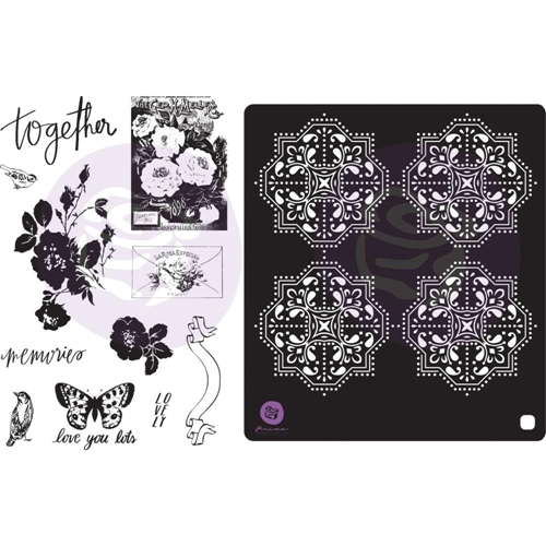 Prima Marketing LAVENDER FROST Cling Stamps & Stencil 634353 Preview Image
