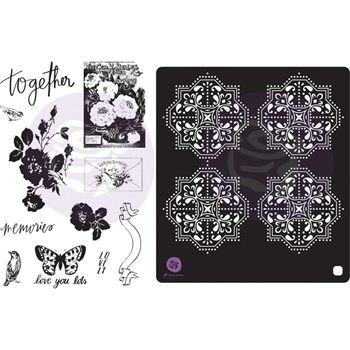 Prima Marketing LAVENDER FROST Cling Stamps & Stencil 634353
