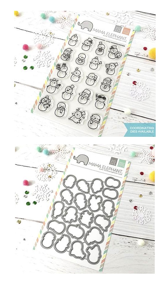 Mama Elephant Clear Stamp and Die MEPT524 Little Snowman Agenda SET zoom image