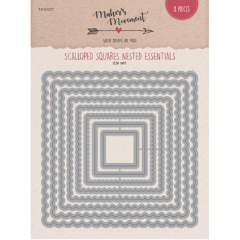 Maker's Movement SCALLOPED SQUARES Nested Essentials Die Set mod207