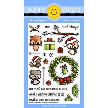 Sunny Studio HAPPY OWLIDAYS Clear Stamps SSCL-208