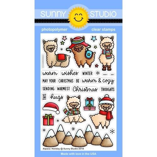 Sunny Studio ALPACA HOLIDAY Clear Stamps SSCL-206 Preview Image