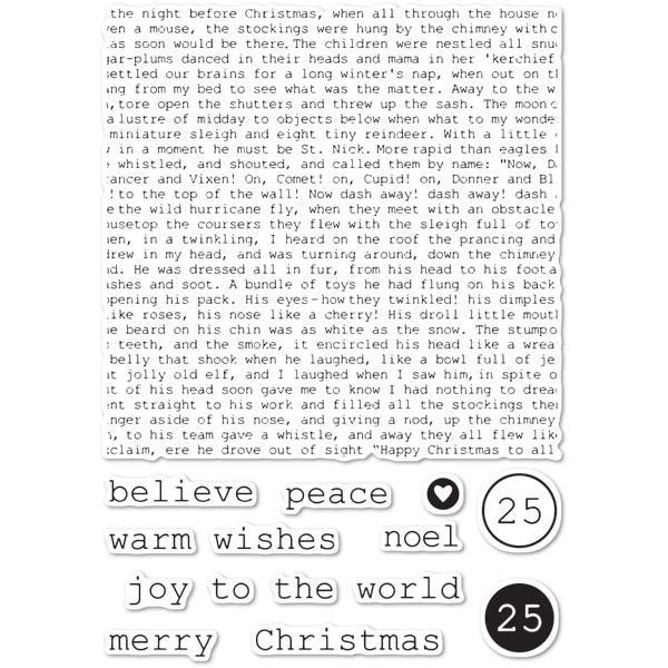 Memory Box Clear Stamps TYPEWRITER HOLIDAY ELEMENTS Open Studio cl5234 zoom image