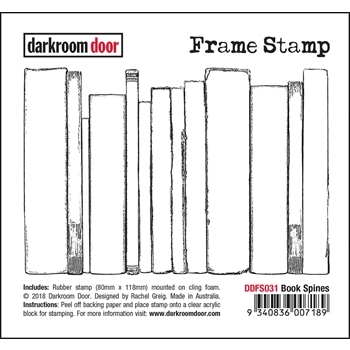 Darkroom Door Cling Stamp BOOK SPINES Frame ddfr031