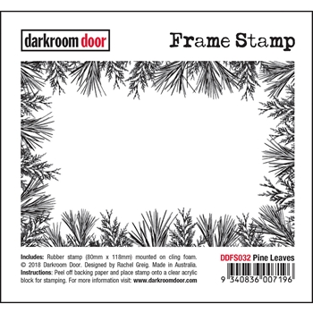 Darkroom Door Cling Stamp PINE LEAVES Frame ddfr032