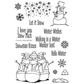 Joy Clair SNOWY GREETINGS Clear Stamp Set clr02191