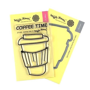 Waffle Flower COFFEE TIME Clear Stamps and Die Combo WFC209*