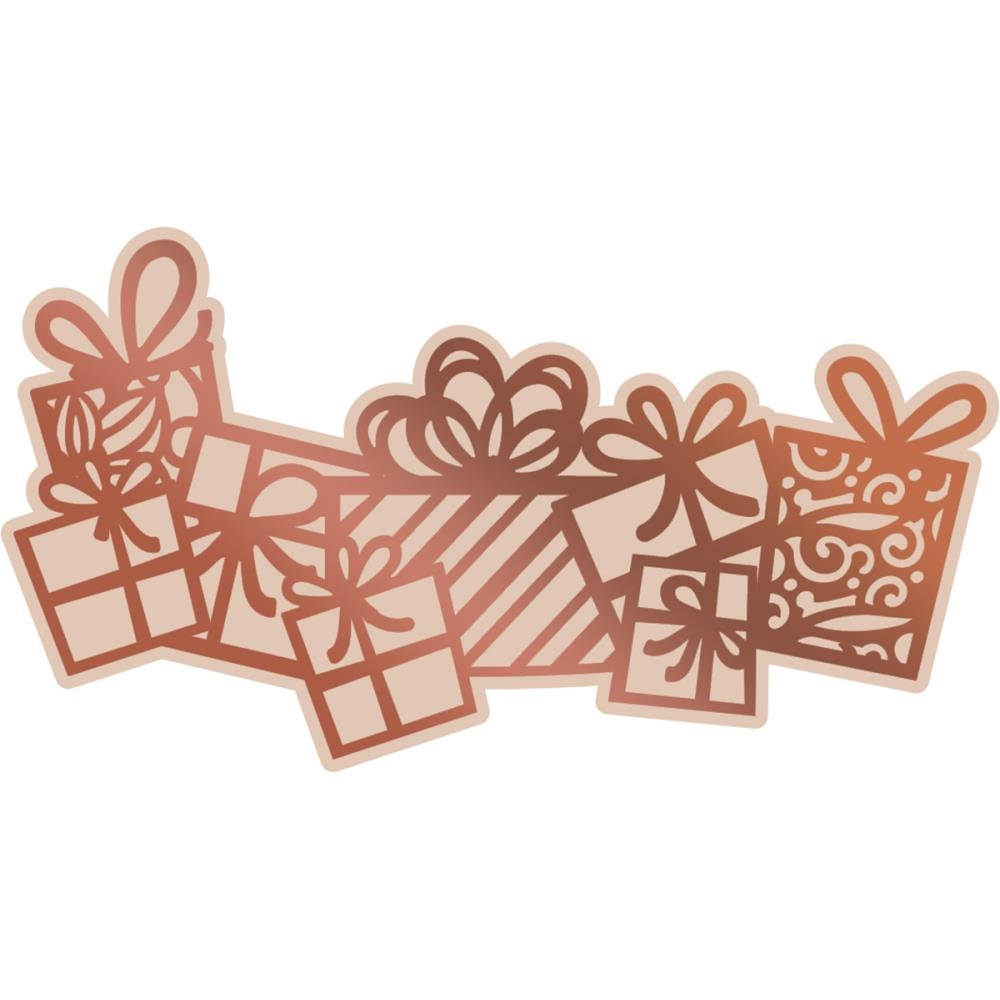 Couture Creations FLURRY OF PRESENTS Cut, Foil, & Emboss Die Highland Christmas co726307 zoom image