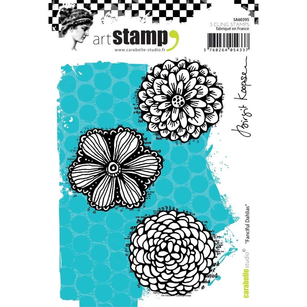 Carabelle Studio FANCIFUL DAHLIAS Cling Stamp sa60395 zoom image