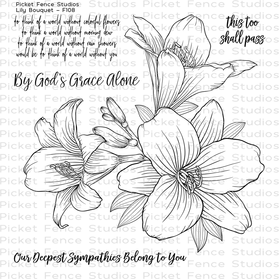 Picket Fence Studios LILY BOUQUET Clear Stamp Set f108 zoom image