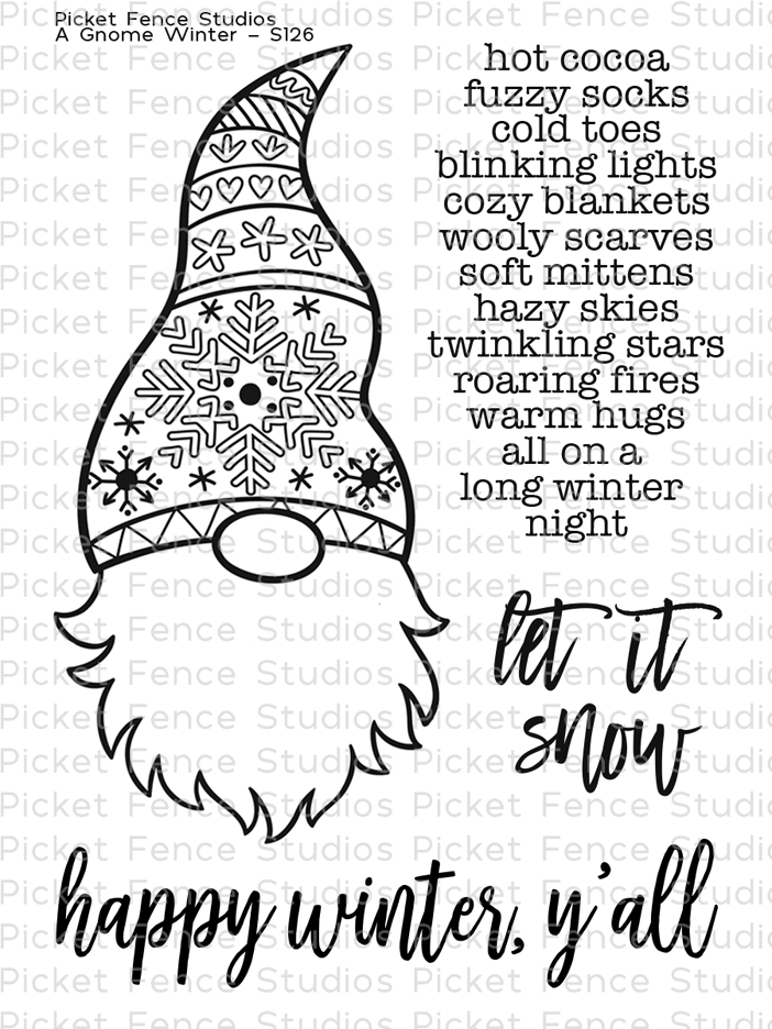 PIcket Fence Studios A Gnome Winter Clear Stamp