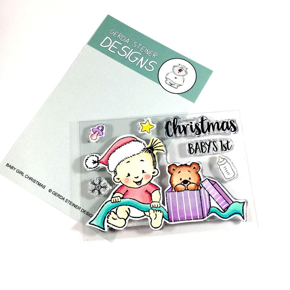 Gerda Steiner Designs BABY GIRL CHRISTMAS Clear Stamp Set gsd651 zoom image