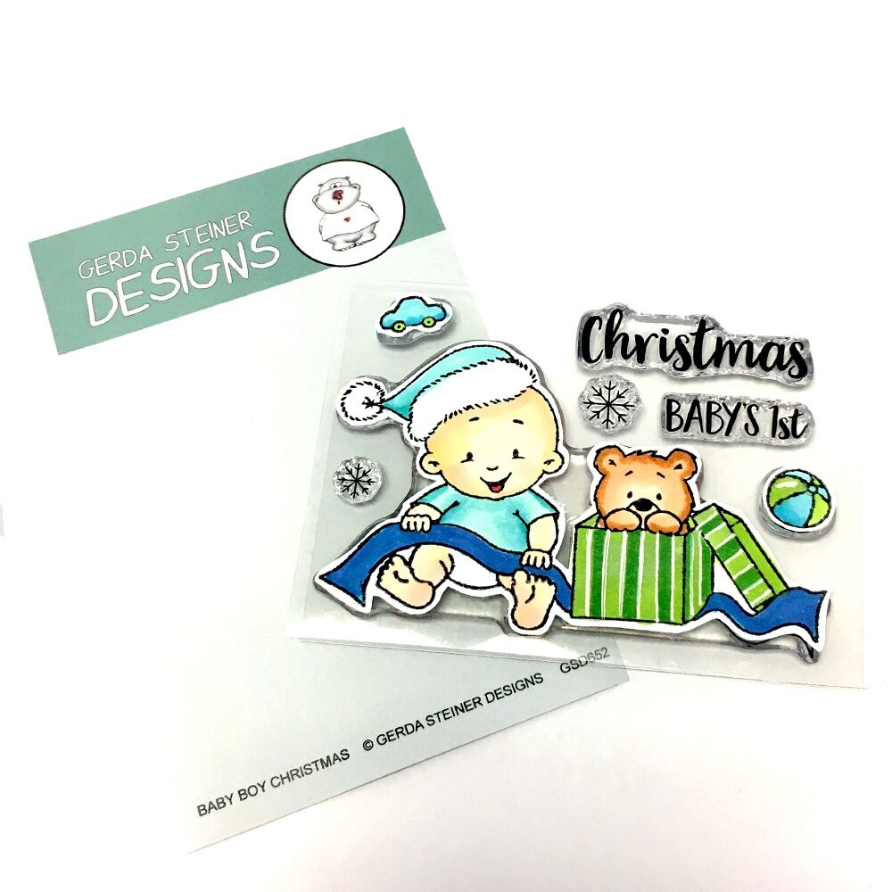 Gerda Steiner Designs BABY BOY CHRISTMAS Clear Stamp Set gsd652 zoom image