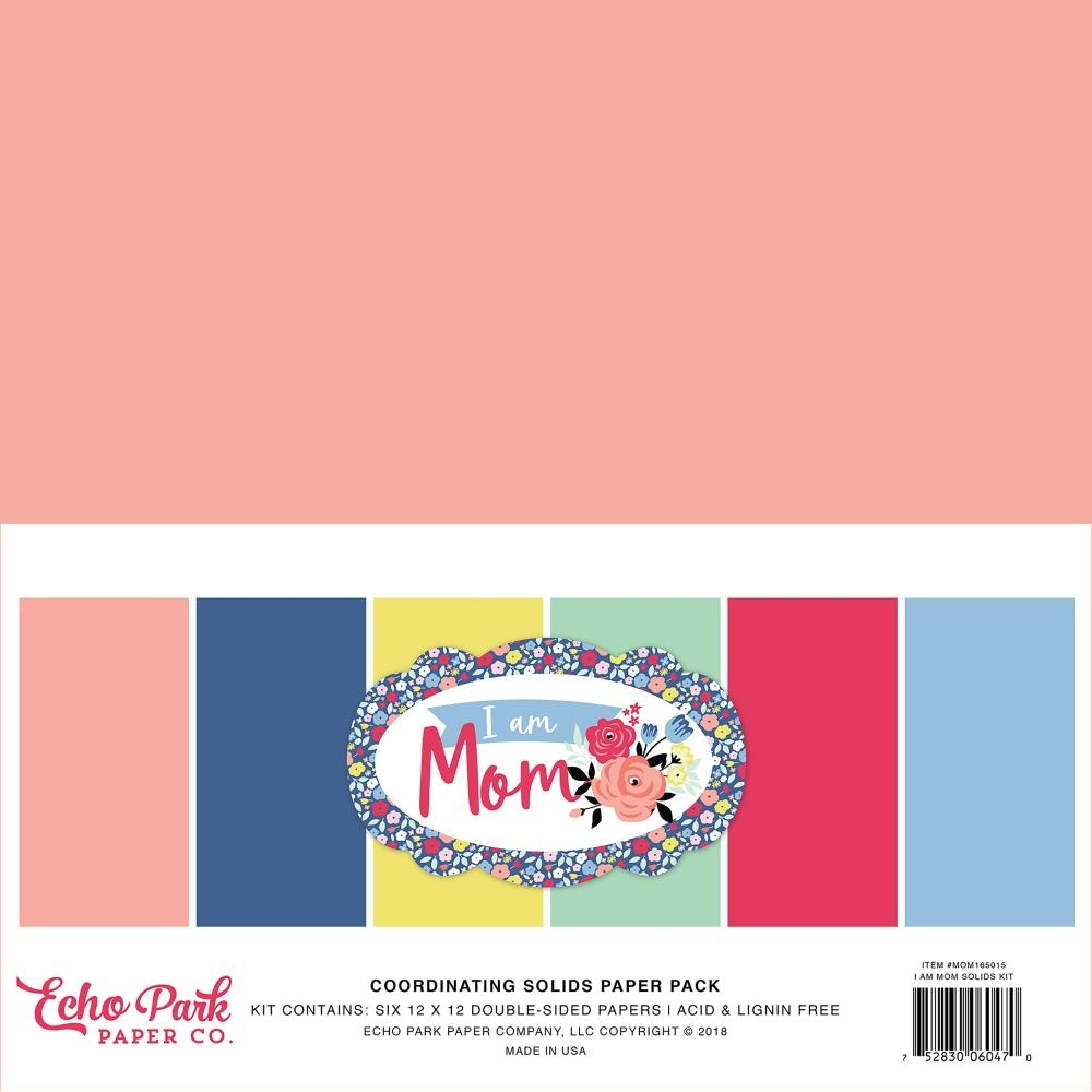 Echo Park I AM MOM 12 x 12 Double Sided Solids Paper Pack mom165015 zoom image