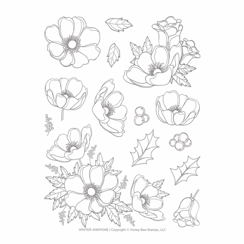 Honey Bee WINTER ANEMONE Clear Stamp Set hbst-139 Preview Image