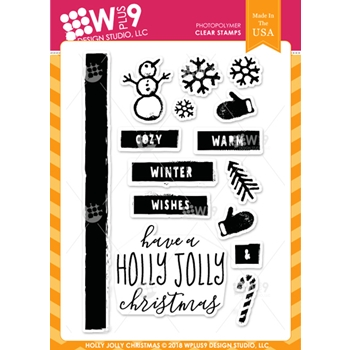 Wplus9 HOLLY JOLLY CHRISTMAS Clear Stamps cl-wp9hjc*