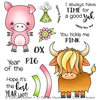 Darcie's YEAR OF THE PIG OX Clear Stamp Set pol414