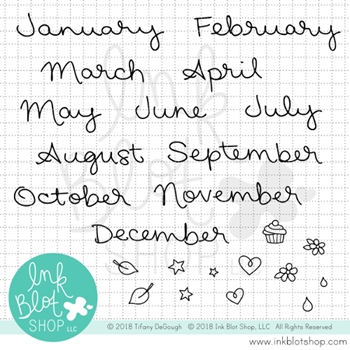 Ink Blot Shop Clear Stamp Set JUST THE MONTHS CALENDAR BUILDER inbl053