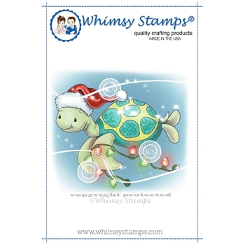 Whimsy Stamps TURTLE CHRISTMAS LIGHTS Rubber Cling Stamp C1330*